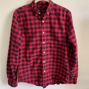 J. Crew buffalo check oxford long sleeve size med